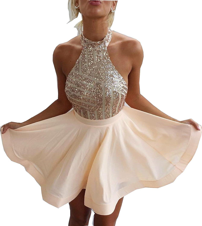 Vampal Champagne Halter Embellished Top Open Back Short Homecoming Dress