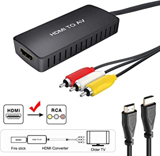 HDMI to RCA Converter, HDMI to Composite Video Audio Converter Adapter, HDMI to AV, Supports PAL/NTSC for TV Stick, Roku, Blu-Ray, DVD Player, Wii, PC