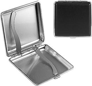 Yosemy - 2 Portasigarette in Metallo e Pelle Nera, Con Elastico e Chiusura a Scatto, Elegante Pelle PU, per 20 Sigarette, ...