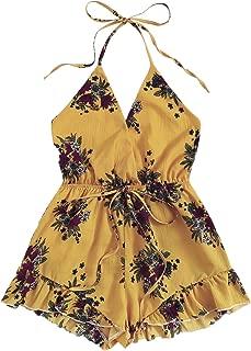 Women's Sexy Halter V Neck Backless Floral Print Short Romper Jumpsuit