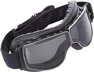 PiWear Boston Retro Motorradbrille auch für Brillenträger echtes Schafsleder dunkel getönt