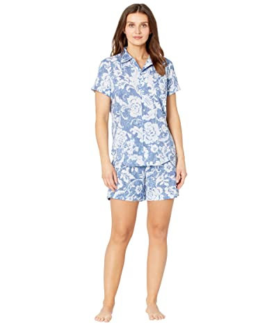 LAUREN Ralph Lauren Classic Wovens Short Sleeve His Shirt Boxer Pajama Set (Navy Print) Women