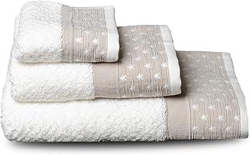 LinenMe 40 x 70 cm. de lino natural con rayas Juego de 2 Toalla de mano y toalla de visitas Lucas