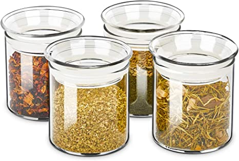 Amazon Com Zens Glass Canister Set Airtight Kitchen Canisters Jars Of 4 With Glass Lids 10oz Fluid Ounce Empty Storage Jar Containers For Spice Or Herbs Kitchen Dining