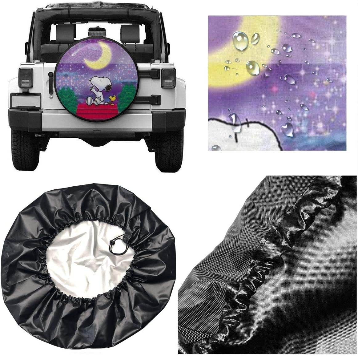 Universal Polyester Waterproof Dustproof Wheel Cover for RV SUV Camper Travel Fantastic Snoopy Spare Tire Cover 14 inch
