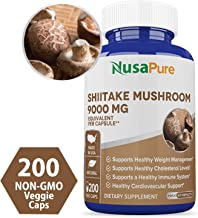 Shiitake Mushroom Extract 9000mg 200 Veggie Capsules (Non-GMO & Gluten Free) Weight Loss, Reduces Cholesterol, Build Immune System, Protect Cardiovascular Health