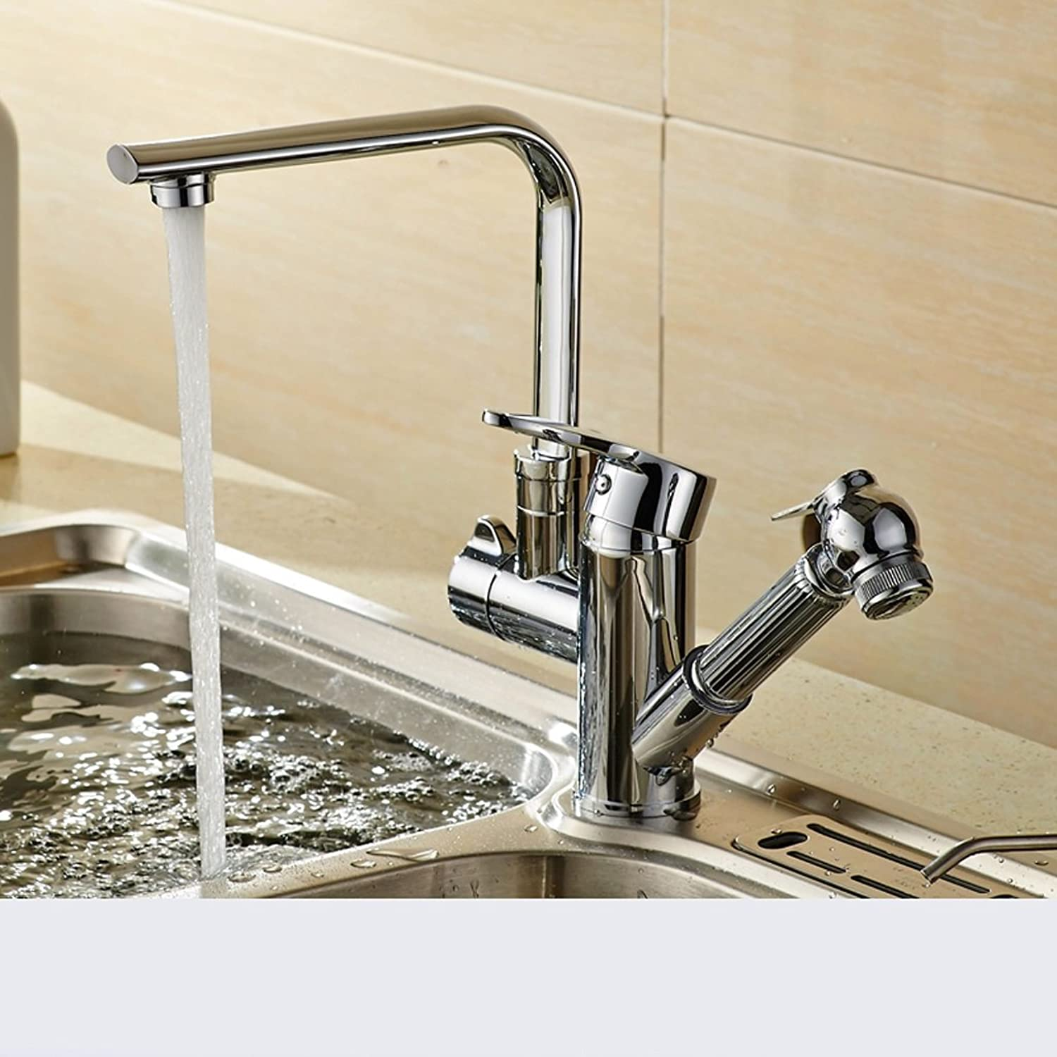 MEILING Pull-out kitchen faucet hot and cold vegetables basin sink redating telescopic sink faucet (Shape   C)