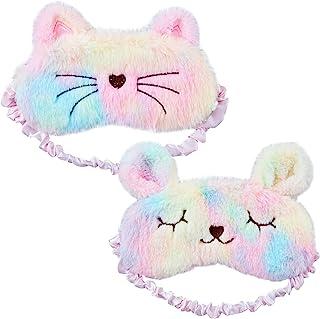 Kesote アイマスク 猫 兎 2個入 旅行 安眠 遮光 睡眠 軽量 圧迫感なし 昼寝眼精疲労 疲労回復