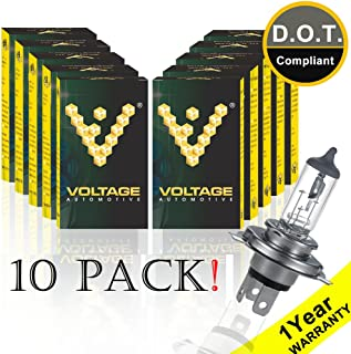 Voltage Automotive 9003 HB2 H4 Standard Headlight Bulb for Car Motorcycle (10 Pack) - OEM Replacement Halogen High Beam Low Beam