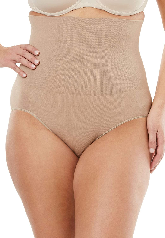 Secret Solutions Women's Plus Size Seamless High Waist Brief Body Shaper