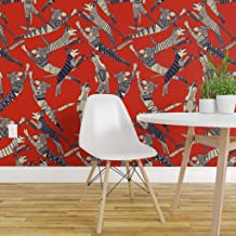 Spoonflower Peel and Stick Removable Wallpaper, Dogs Red Modern Dog Geometric Animals Pet Puppy Retro Canine Year Print, Self-Adhesive Wallpaper 24in x 144in Roll