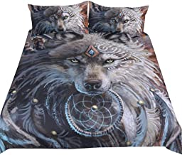 Wolf Dreamcatcher Bedding Duvet Cover Set Twin Size Indian Dream Catcher Animal 3D Printed Bedding Set for Adult Kids Bedroom Decorative Soft Microfiber Exotic Style Bohemia Comforter/Quilt Cover