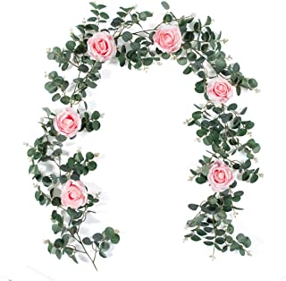 Meiliy Artificial Eucalyptus Garland Leaves with 6 Rose Vines Artificial Flower Garland Centerpiece Table Runner Wedding Arch Decorations Backdrop Wall Party Festival Décor,Pink