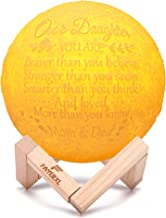 FAYERXL Engraved Moon Lamp You are Braver to My Daughter Son 3D Printing Moon Light Night Light Gift Ideas from Dad Mom (Our Daughter-Love Mom&Dad)