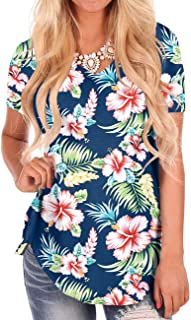 Women's Short Sleeve Loose Casual V-Neck Floral T-Shirt Tops