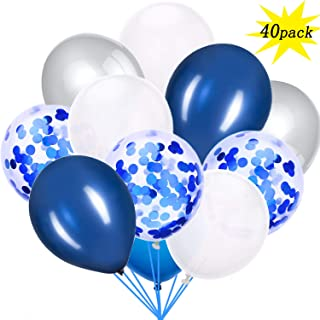 Silver and Blue Confetti Balloons 40 pcs, 12 inch White Pearl and Silver Metallic Party Balloons for Graduation Wedding Birthday Decorations
