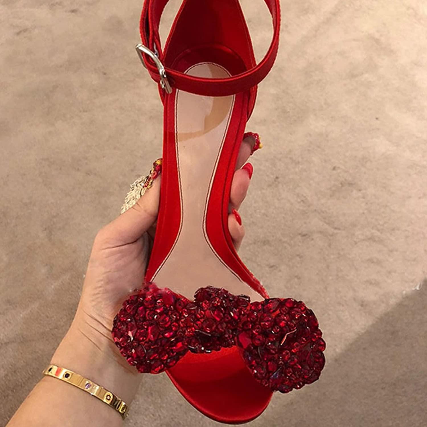 Sandals Female Sandals Summer High Heels Rhinestone Bow Open Toe High Heels (color   Red, Size   37)