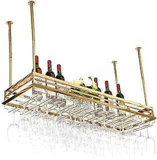 HZWLF Casier à vin Suspendu en Acier Inoxydable de Style européen, casier à vin de Bar à l'envers, Porte-gobelet, casier à...