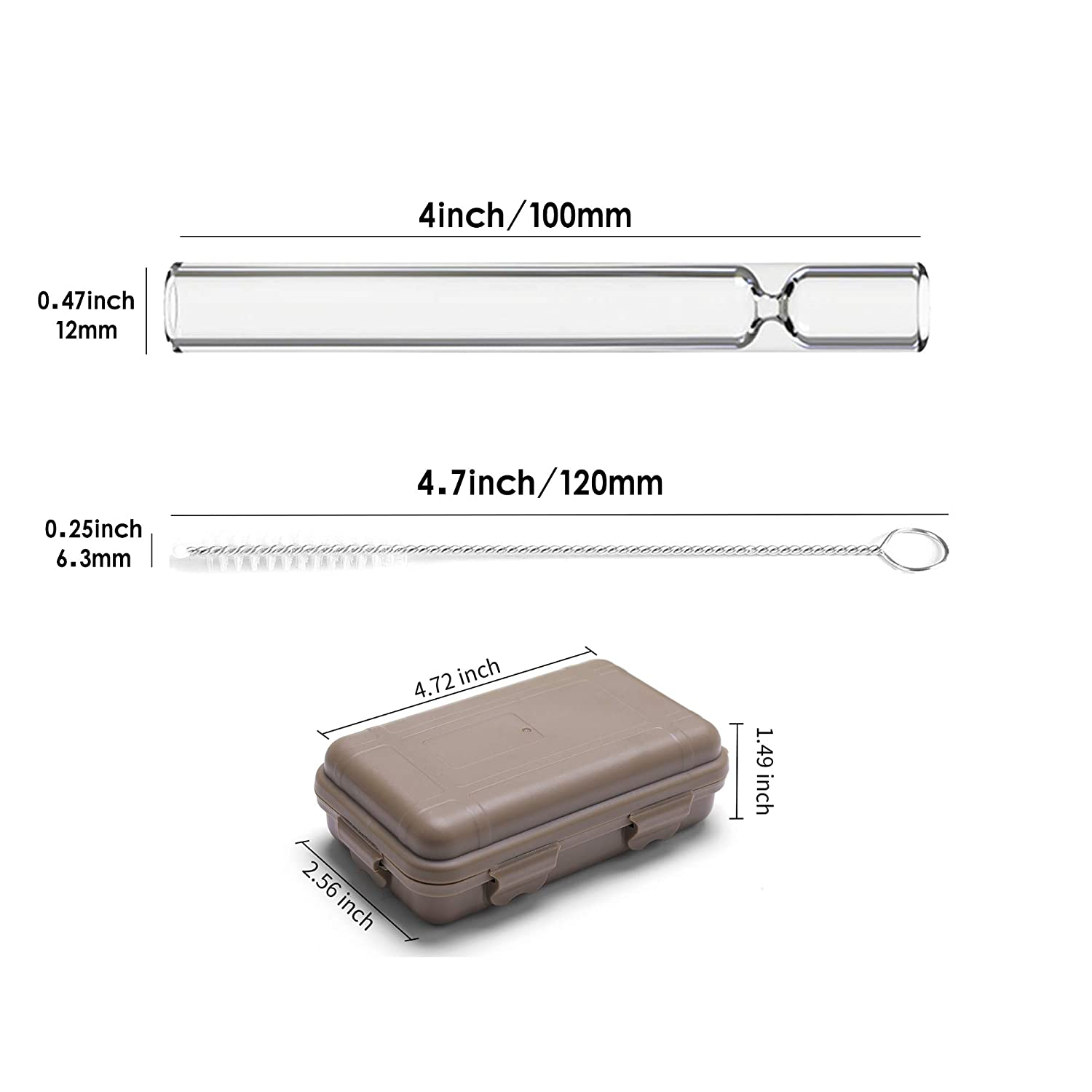 6 Pack 4 Inch Long Glass Tube 12mm OD 1.5mm Thick Wall Tubing