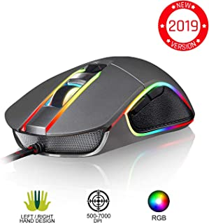 KLIM Aim Gaming Mouse - Wired Ergonomic Gamer USB Computer Mice, Chroma RGB Mouse [7000 DPI] [Programmable Buttons] Ambidextrous, Ergonomic for Desktop PC Laptop, High Precision Optical Laser, Grey
