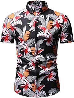 Stoota Personality Fashion Men's Summer Casual Slim Fit Short Sleeve Floral Feather Printed Shirts Top Blouse