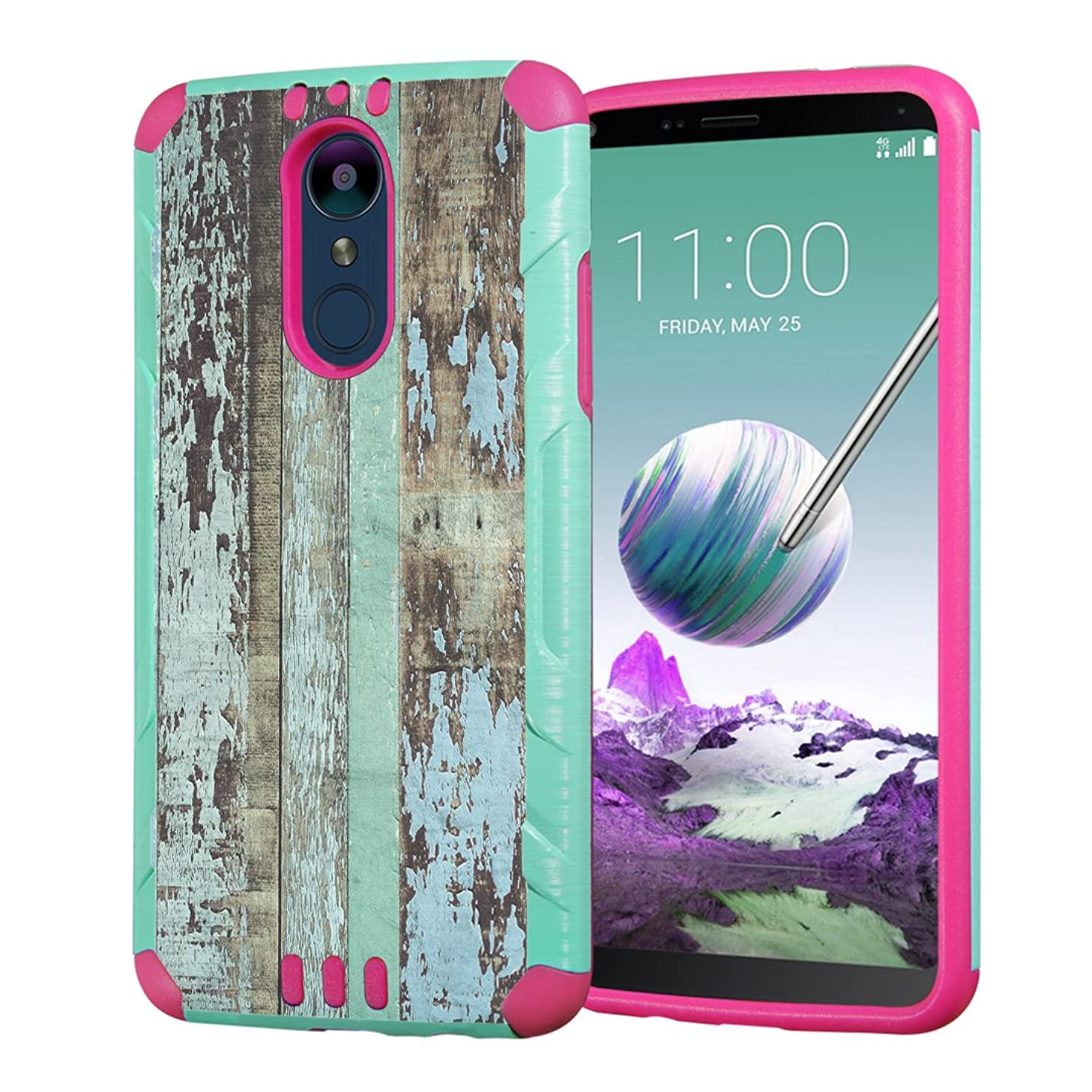 Moriko Case Compatible with LG Stylo 4 Plus, LG Stylo 4, LG Q Stylus [Heavy Duty Armor Drop Protection Dual Layer Shockproof Case Mint Pink] for LG Stylo 4 - (Vintage Wood Print)
