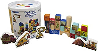 Good Night Construction Site Wood Stacking Block Set - 50 Blocks and Bucket with Sorting Lid