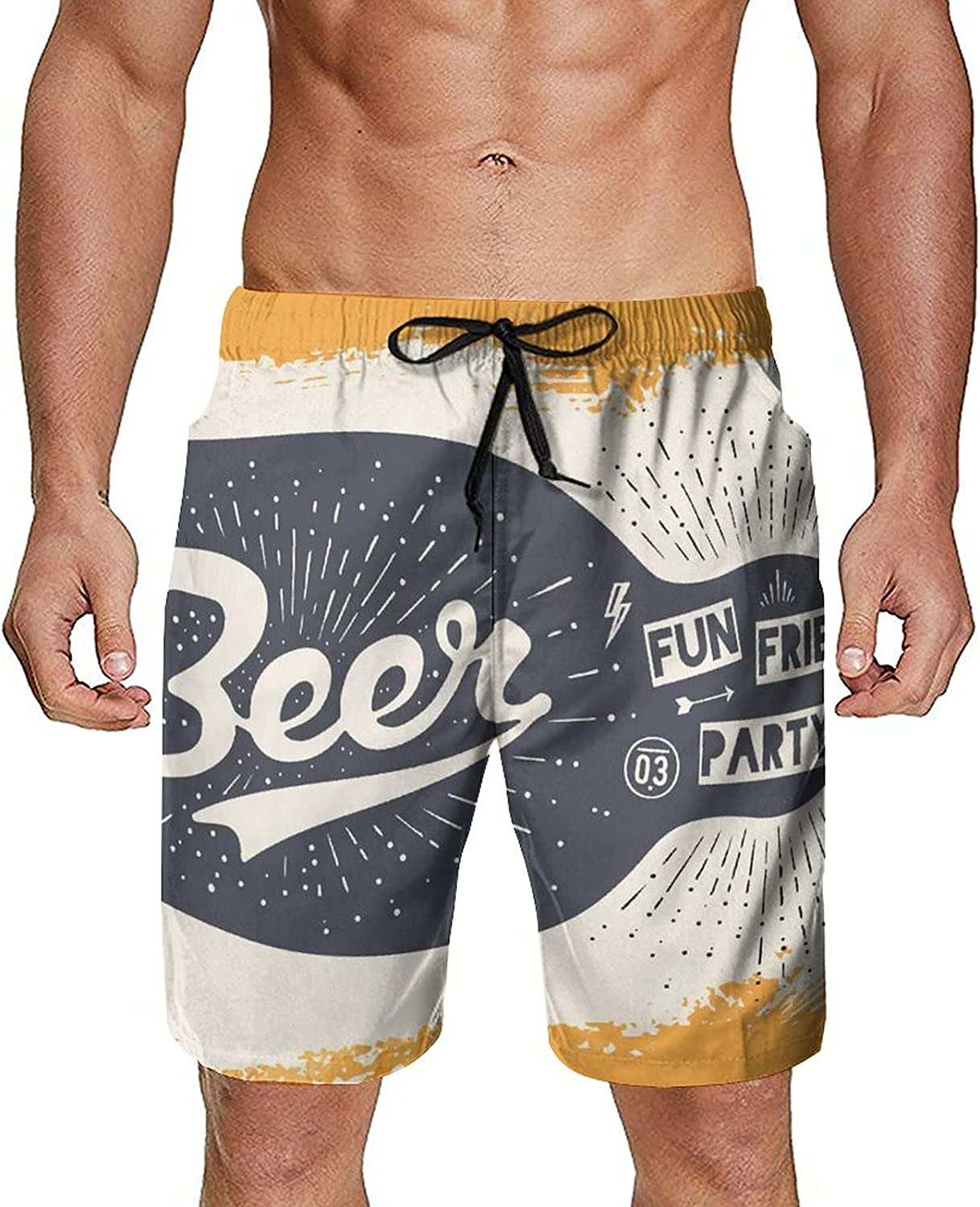NiYoung Men Summer Swim Trunks Quick Dry Board Shorts with Mesh Lining and Pockets