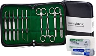 Savvy Scientist Dissection Kit (27 pcs) - Advanced Medical Tools Disecting kit for Kids, Students - Lab, Anatomy, Veterinary, Biology Surgical Instruments, Carry case, Scalpel blades, Surgical Sutures