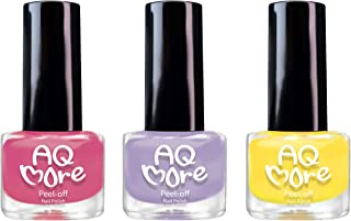 AQMORE Premium Water Based Nail Polish - Pure Minerals, Ultra Long Lasting, Easy Peel Off, Gel Manicures Like, Quick Drying, Non Toxic, Lab Tested, (3 Color Set) 0.20 fl oz/Bottle-Strawberry Pie