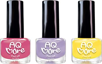 AQMORE Premium Water Based Nail Polish - Pure Minerals, Ultra Long Lasting, Easy Peel Off, Gel Manicures Like, Quick Drying, Non Toxic, Lab Tested, (Strawberry Pie 3 Color Set) 0.20 fl oz/Bottle