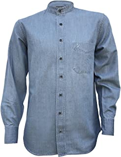 Irish Grandfather Collarless Cotton/Tencel Denim Shirt in Light Blue Indigo Wash