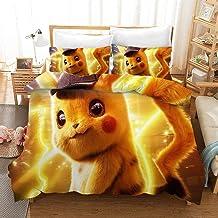 Parure de Lit 220 x 240,Parure Housse Couette Pokemon Pikachu, Housse de Couette pour Enfant,Anti-Allergique Chaud Confort...