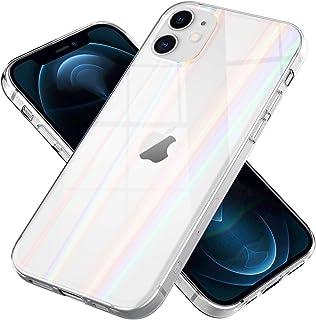 NALIA Klares Hartglas Case kompatibel mit iPhone 12 Mini Hülle, Durchsichtiges Regenbogen Hardcase aus Tempered Glass & Si...