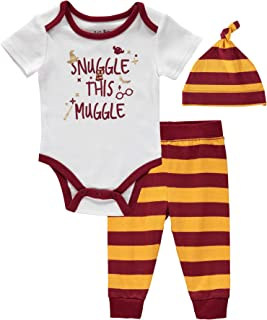 Harry Potter Infant Baby Boys 3 Piece Creeper with Pull-on Pant and Matching Cap Set