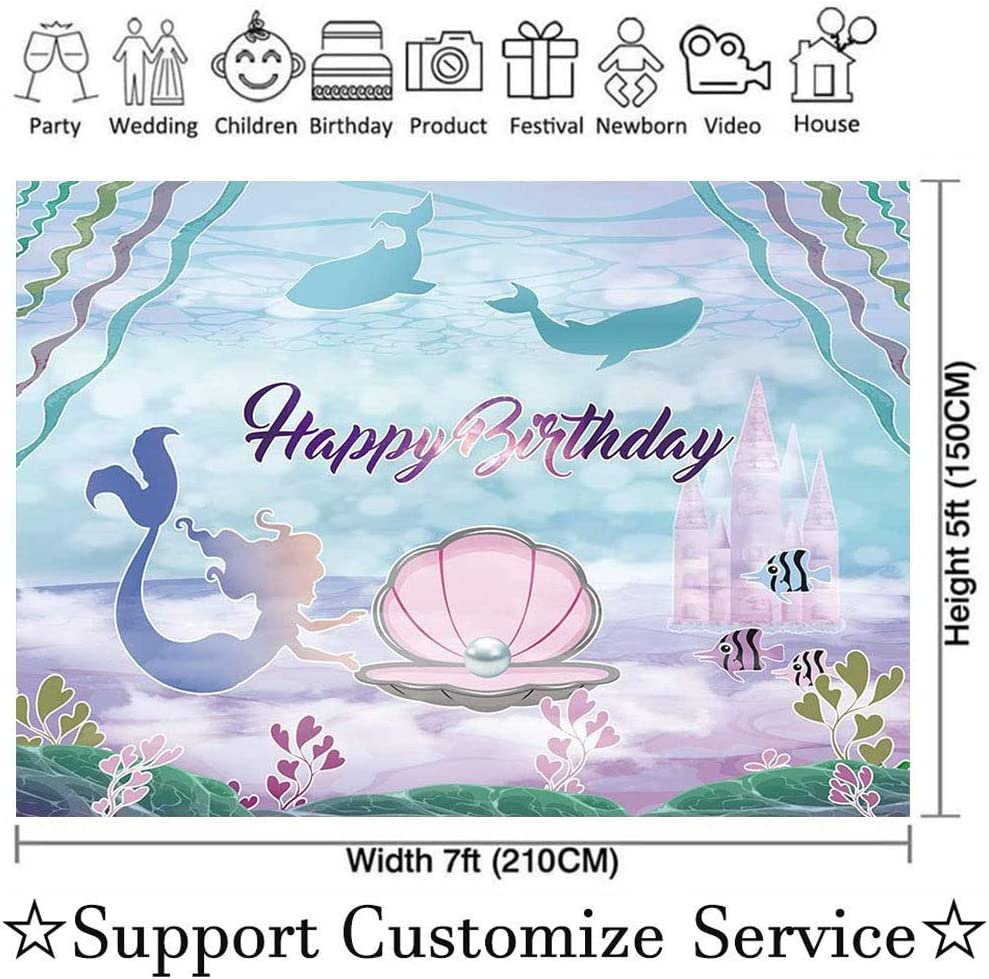 Allenjoy 7x5ft Under The Sea Mermaid Birthday Party Backdrop for Girls Photography Castle Whale Pearl Princess Birthday Photo Background Cake Table Decorations Banner