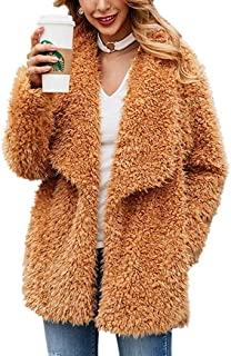 Kiss Me Womens Casual Faux Shearling Jacket Lapel Fleece Fuzzy Jacket Winter Oversized Outwear Jackets Shaggy Coat