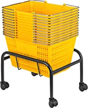 Mophorn Shopping Basket 12PCS Plastic Basket Large Yellow Basket with Handle Portable and Durable Stand Shopping Baskets for Retail Store