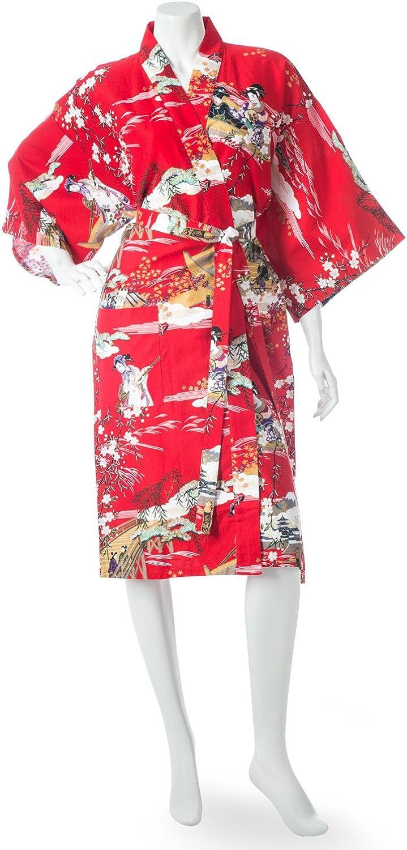 Geisha Short Red Japanese Kimono Robe