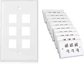 Cable Matters 10-Pack Low Profile 6-Port Cat5e, Cat6 Keystone Jack Wall Plate in White