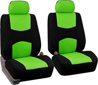 FH Group Universal Fit Flat Cloth Pair Bucket Seat Cover, (Green/Black) (FH-FB050102, Fit Most Car, Truck, Suv, or Van)