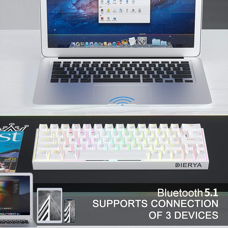 60% Keyboard with Dedicated Arrow Keys, White DIERYA DK63W Wireless Wired Mechanical Gaming Computer Keyboard True RGB Backlit Bluetooth 5.1 Programmable, N-Key Rollover for Windows Mac - Blue Switch