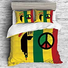 iPrint Home Luxury 4 Pieces Duvet Cover Bedding Sheet Set(Double Size) Rasta,Iconic Barret Reggae and Jamaican Music Culture with Peace Symbol and Borders Decorative,Red Green Yellow