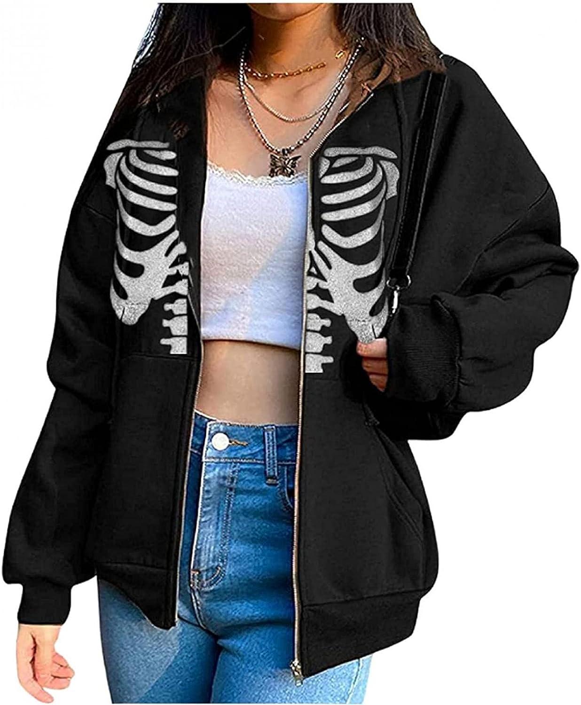 ZYAPCNGN Womens Halloween Fort Worth Mall Skull Print Long Super sale S Cardigan Sweatshirt