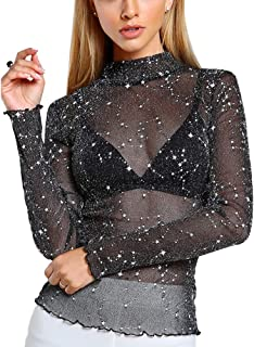 Women's Long Sleeve Star Sheer Mesh Top Mock Neck See Through Shirt Top