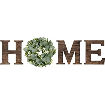 Mkono Wall Hanging Wood Home Sign with Artificial Eucalyptus for O Rustic Wooden Home Hanging Letters Decorative Wall Decor Signs for Living Room House, 9.8''H x 8.5''W