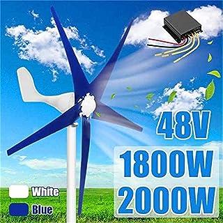 RDJM Turbina eólica 2000W 48 voltios 5 de Fibra de Nylon Hoja Horizontal eólica casera, for turbinas Molino generador de energía Energía for Turbinas de Carga (Color : Blue, Size : 1800w)