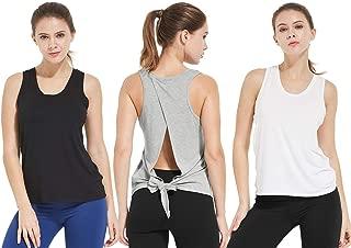 BALEAF Women's Yoga Tie Back Tank Tops Open Back Shirts Workout Tee Tops