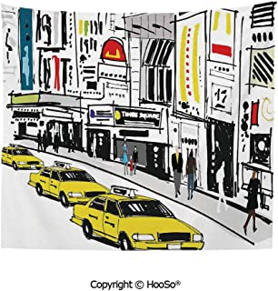 Durable Washable and Reusable tapestry wall hanging carpet 59x79in,Times Square New York with People in Street Taxi Cabs Traffic Fashion Illustration,Multicolor Comfy and No Strange Odor home decor