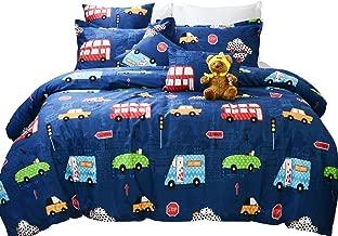 Brandream Kids Boys Bedding Set Queen Size Blue Cars Pattern Toddler Duvet Cover Set 100% Cotton 3-Piece Zipper Closure(No Comforter Included)